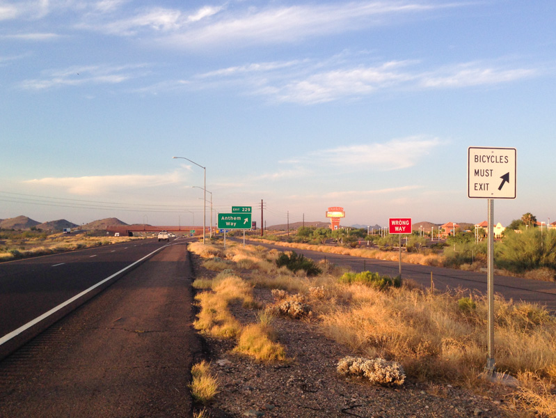 Exiting I-17 to take frontage roads in northern Phoenix