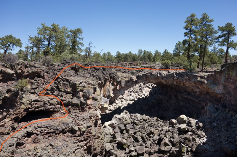 Route across the lava flow bridge and down into the Big Skylight trench