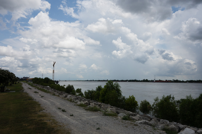 Looking upstream at the Mississippi River/Lower 9th Ward Levee