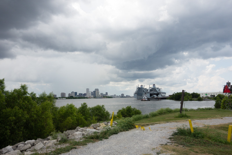 Looking downstream towards downtown New Orleans, pre-thunderstorm