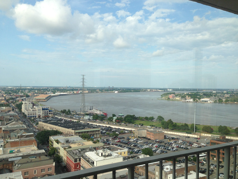 The view of the Mississippi River from our hotel room