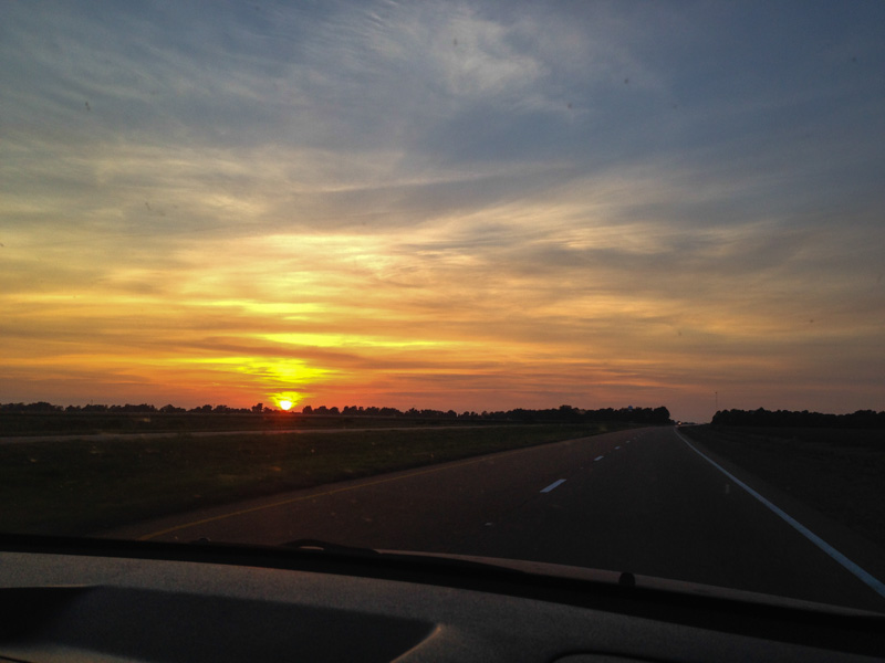 Delta sunset on the drive to Leland