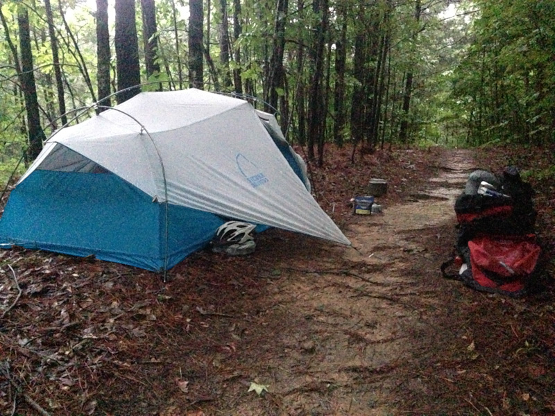 Camping along the trail a few miles west of Dallas, GA