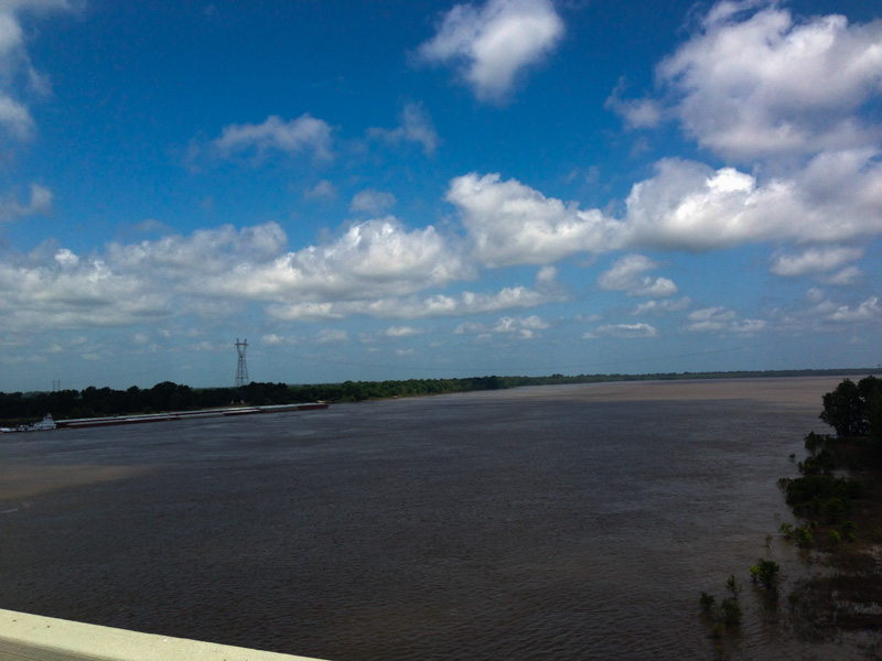 The Mississippi River as seen from the Greenville Bridge